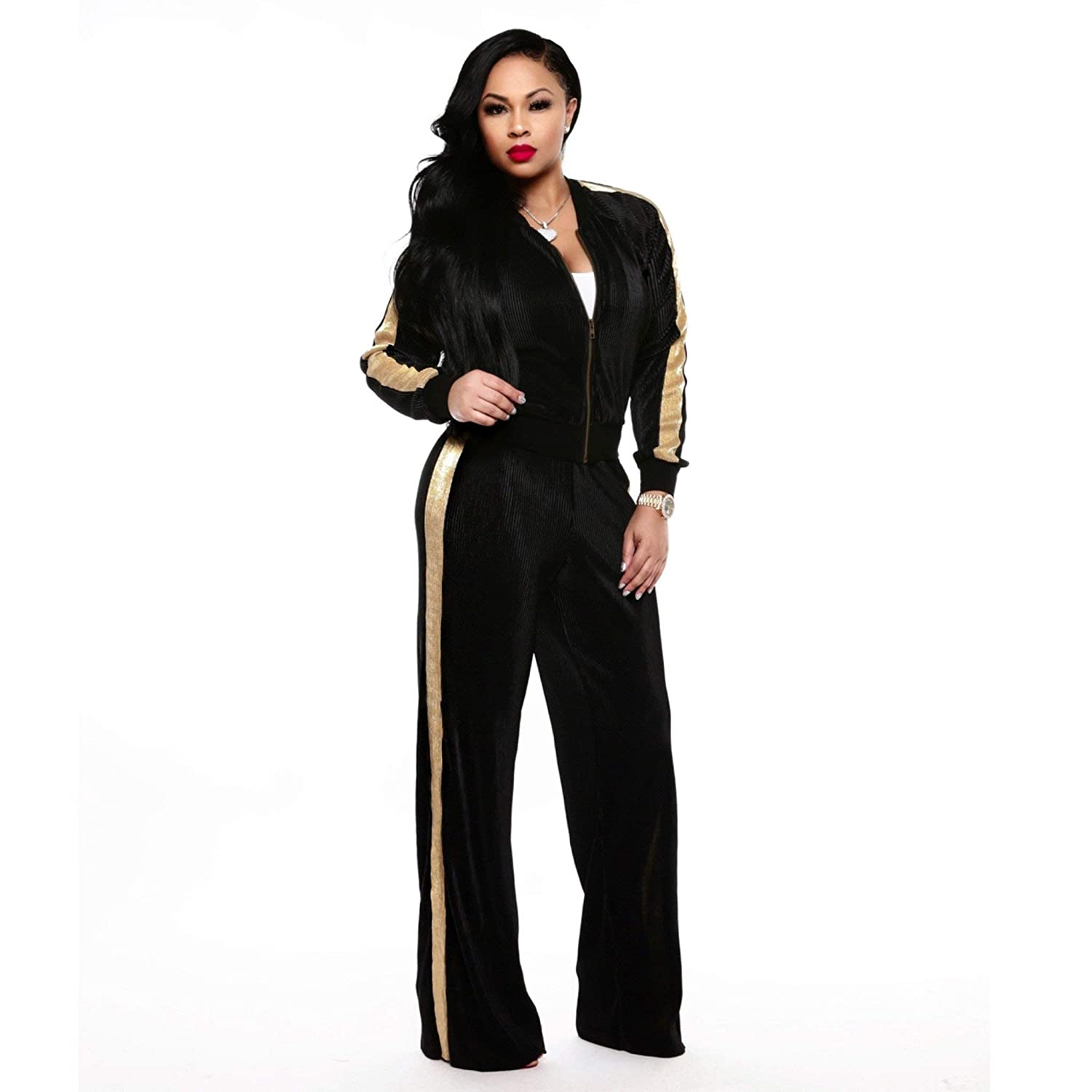 2d8a646b OLUOLIN Women's 2 Piece Outfits Velvet Tracksuit Zip Jackets and Sweatpants  Jogging Suit at Amazon Women's Clothing store: