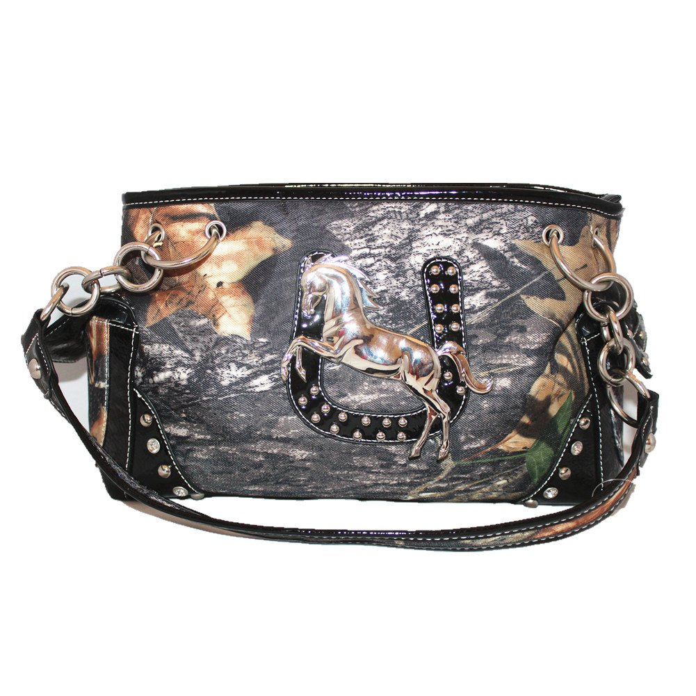Rhinestone Metal Western Horse Camou Shoulder Handbag Purse in 3 Colors with Fast Shipping (Black)