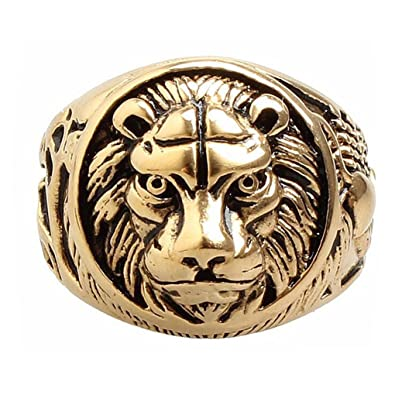 TINXOO Jewelry Stainless Steel Men s Gold Lion Head Shield Biker