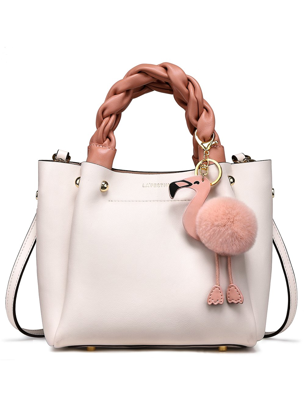 LA'FESTIN Bucket Style Women's Leather Shoulder Handbags with Woven Top Handles Cute Pink Flamingo White Purse