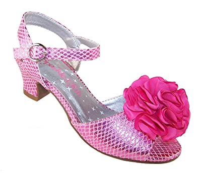 2a93f9209f26 Girls Pink Sparkly Low Heeled Summer Party Wedding Bridesmaid Sandals   Amazon.co.uk  Shoes   Bags