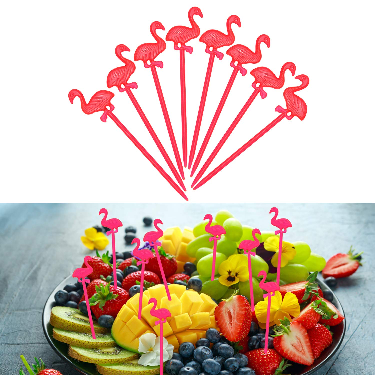 LGDehome 350 Pieces Cute Flamingo Picks Pink Cocktail Picks with Flamingo Drinking Straws Rose Bendable Cocktail Straws for Tropical Party Birthday Wedding Tableware Decoration by LGDehome (Image #3)