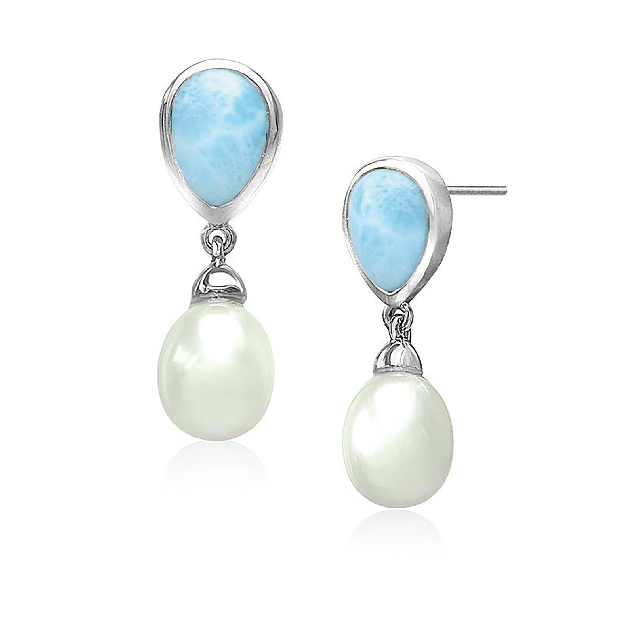Marahlago - Larimar Alisa Earrings with Freshwater Pearl