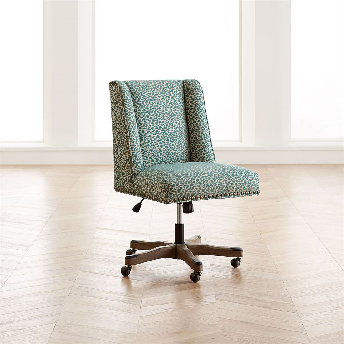 Brylanehome Quincy Office Chair (Teal Leopard,0)