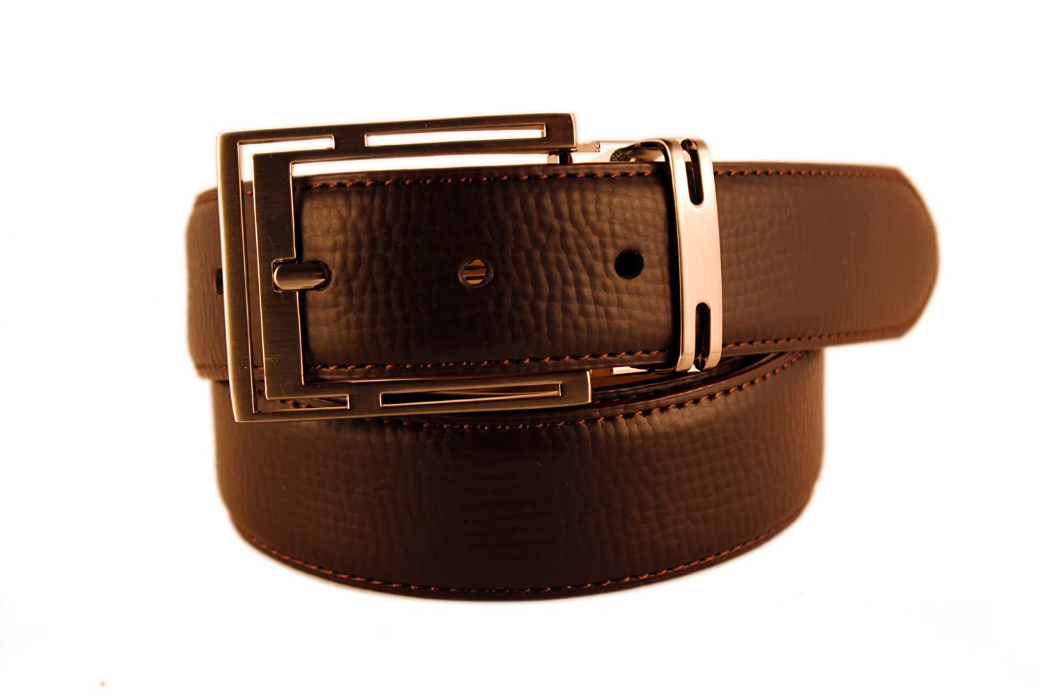 Size 40 New Mens Marco Valentino Italy Genuine Leather Brown Textured Belt with Satin Nickel Buckle