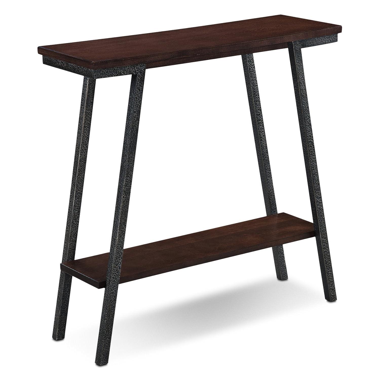 Walnut Leick 11405 Empiria Modern Industrial Narrow Chairside Table