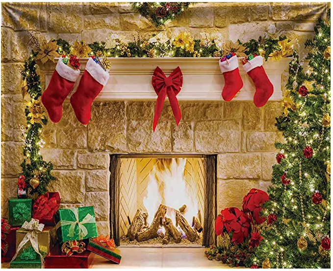 Christmas Day Backdrops Photo Backgrounds 10x7ft Christmas Tree Fireplace Photography for Party Photo Background Xmas Party ME479