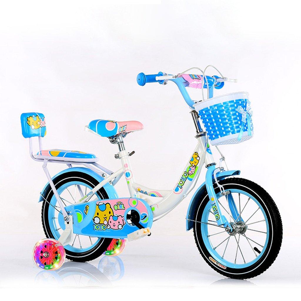 子供の自転車バイク3-5歳の少女サイクリング14インチの点滅する赤ちゃんのキャリッジハイカーボンスチール自転車、ピンク/青/緑 (Color : Blue) B07CXL22VD