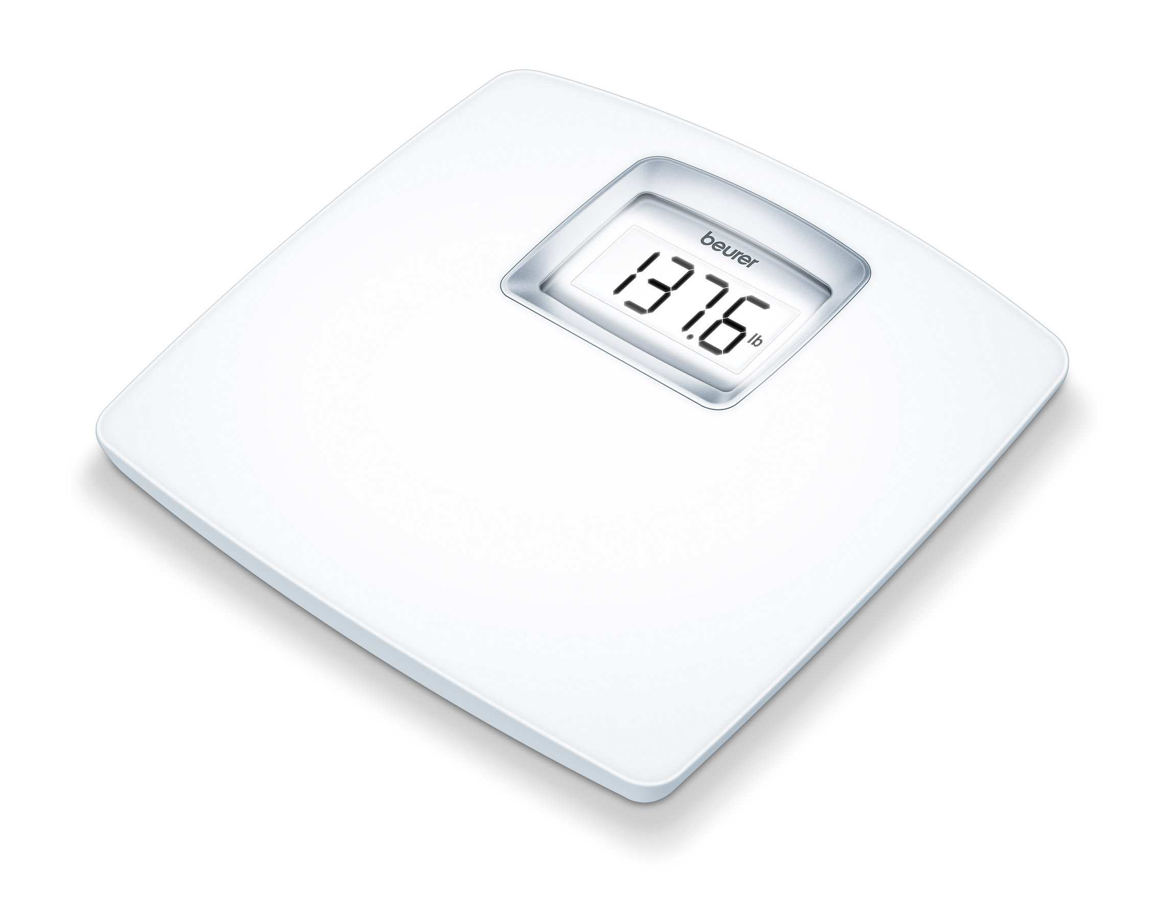 Beurer White Digital Bathroom Scale with Extra Large LCD Display, White Illumination