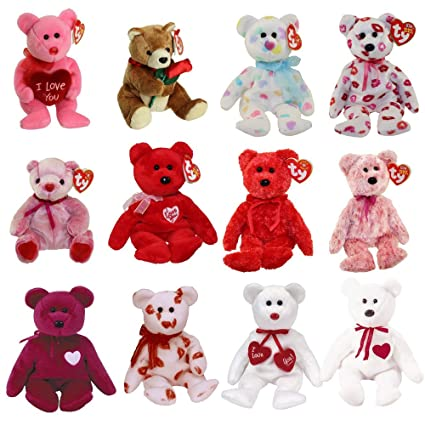 9bc2a5bbc0d Amazon.com  TY Beanie Babies - VALENTINE S DAY BEARS (Set of 12) (Smitten