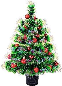 22'' Pre-lit Fiber Optic Desktop Christmas Tree Mini Artificial Tabletop Xmas Tree Multicolor Lighted with Solid Base, Balls