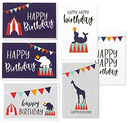 birthday cards box set 48 pack happy birthday cards 6 circus designs kids