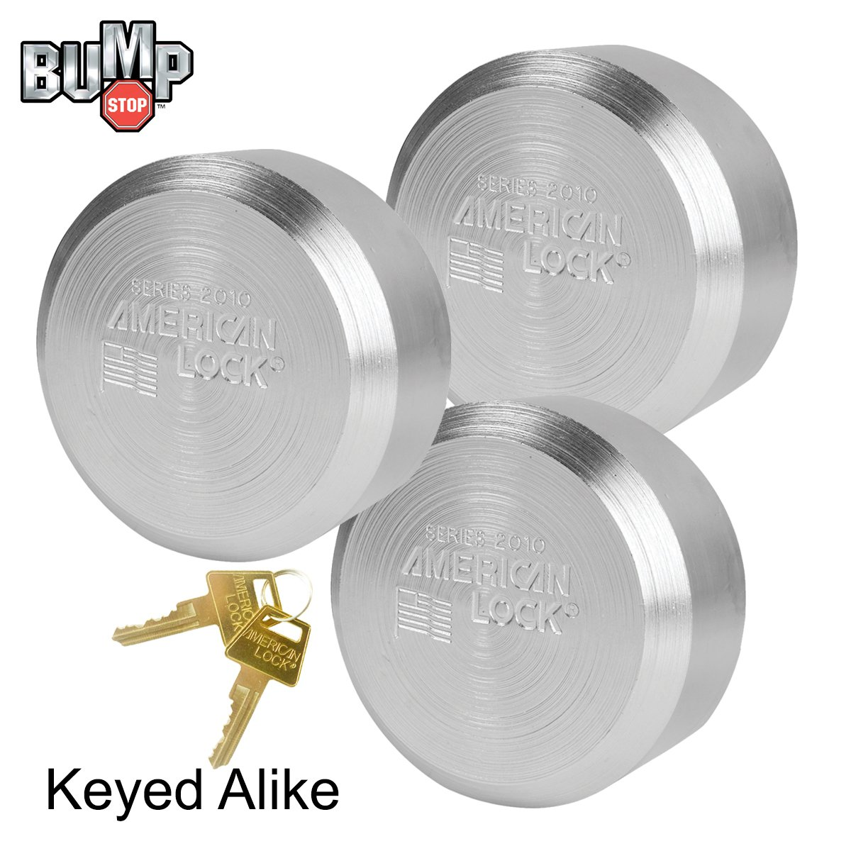 American / Master Lock - (3) Solid Steel, High Security, Hidden Shackle Padlocks, w/ Bumpstop Technology A2010NKA-3