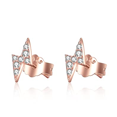 8601af65ba5 Cubic Zirconia Stud Earrings Sterling Silver Lightning Bolt Earrings ...