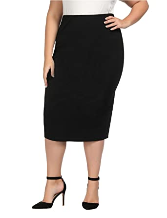 82098daa537 Chicwe Women s Plus Size Stretch Long Tailored Calf Length Pencil Skirt  with Elastic Waistband 2X Black