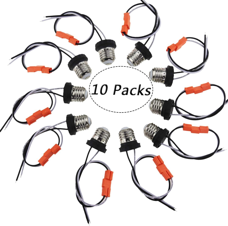 Rextin Medium Edison E26 Socket adapter Base Male Screw In Light Bulb Socket Pigtail For Led Ceiling lights downlight Pack of 10 (10pcs Socket Base)