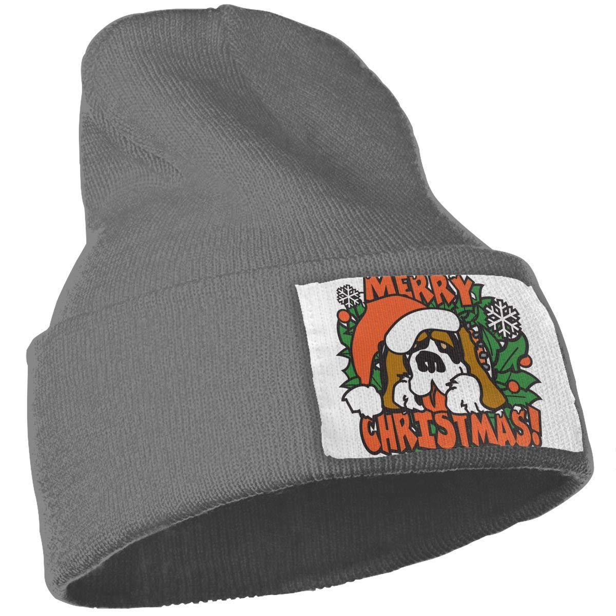 Christmas Dog Cuffed Plain Baggy Winter Skull Knit Hat Cap Slouchy Beanie Hat for Men /& Women Stylish