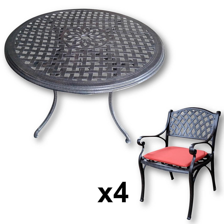 Lazy Susan - LILY 120 cm Runder Gartentisch mit 4 Stühlen ...