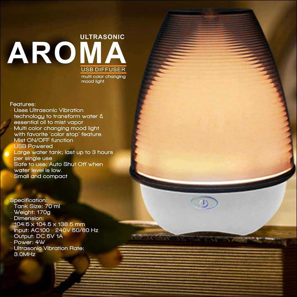 Ultrasonic Aroma Diffuser with 7 Color Changing LED Lights for Office and Bedroom,Aromatherapy Essential Oil Ultrasonic Cool Air Purifier with Waterless Auto Shut-off and 3 Mist Settings