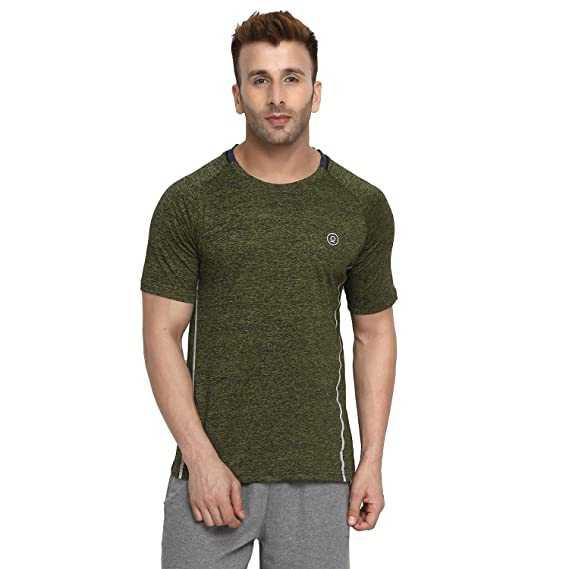 0f088a3f4 CHKOKKO Round Neck Regular Fit Dry Fit Stretchable Yoga Gym Sports Tshirts  for Men (Large, Space Dye Olive): Amazon.in: Clothing & Accessories