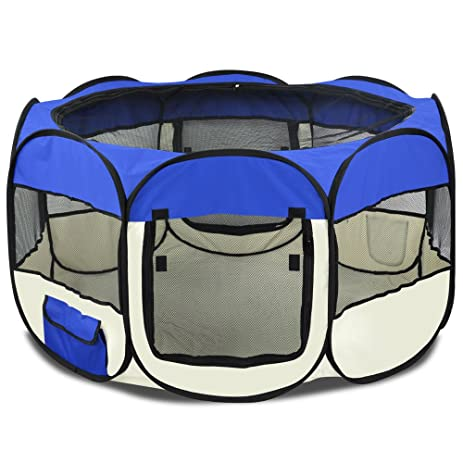 Blue Large Pet Dog Cat Playpen Tent Portable Exercise Fence Kennel Cage  Crate