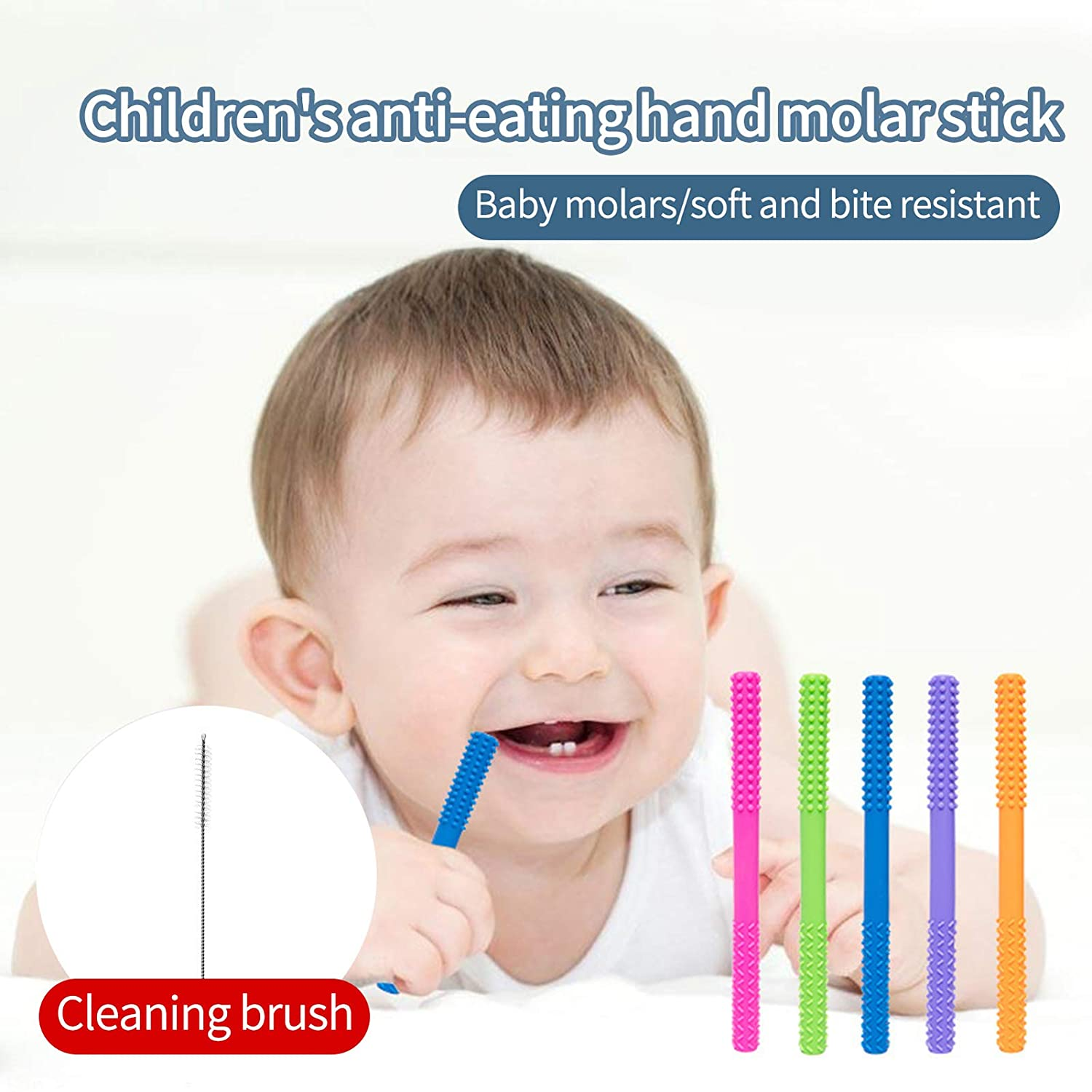 Baby Teething Tubes 4 Pack Teething Toys for Babies 0-6 Months,Teething Tubes with a Cleaning Brush 4 Colors Mixed