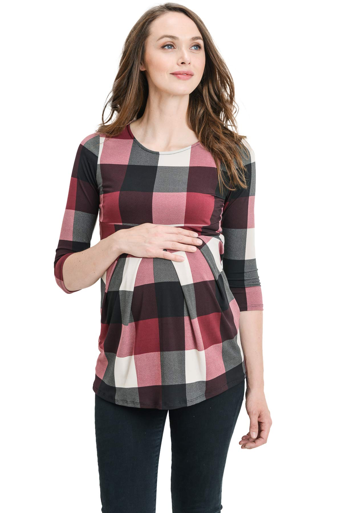 LaClef Women's Round Neck 3/4 Sleeve Front Pleat Peplum Maternity Top (Burgundy Plaid, L)