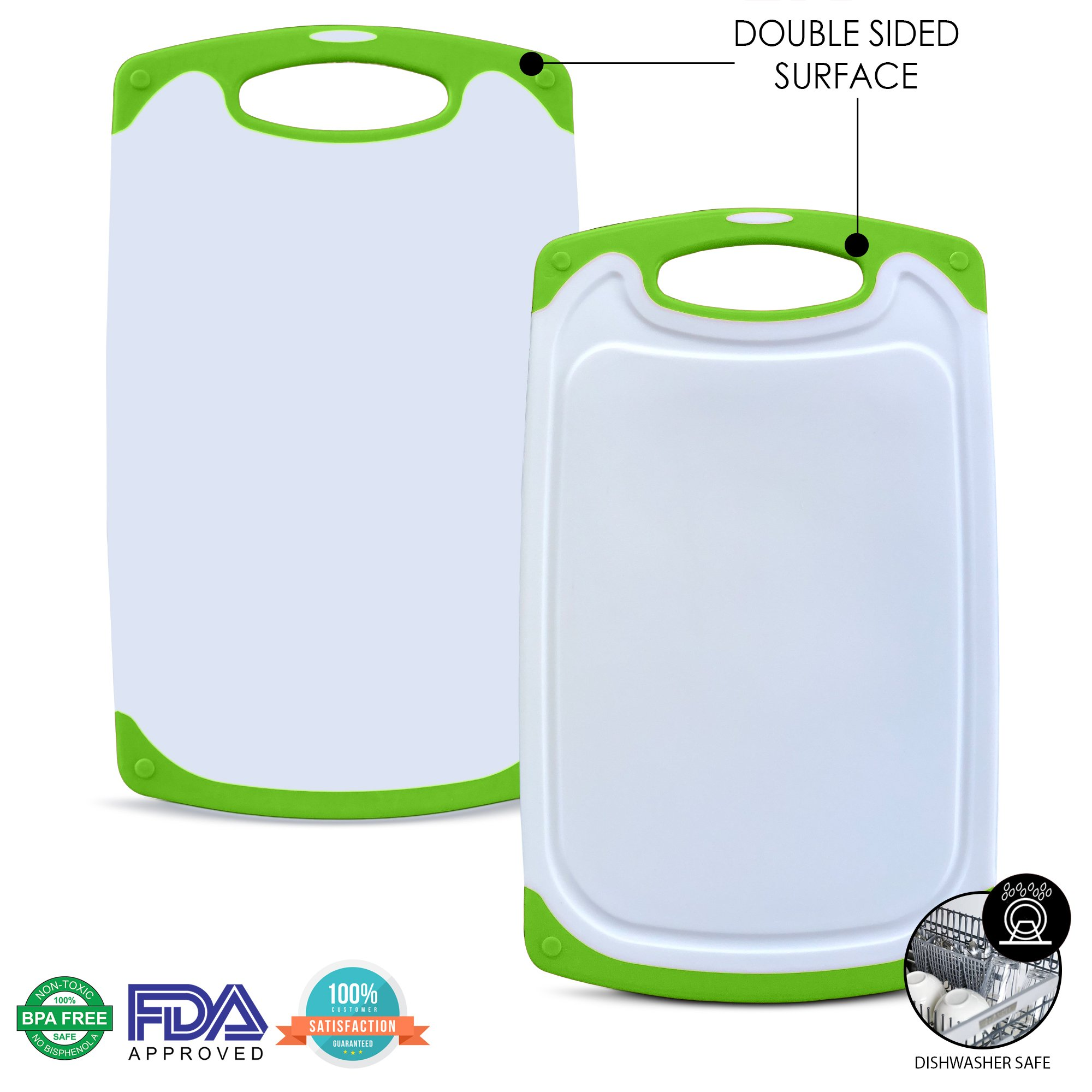 Raj Non-Slip Antibacterial Plastic Cutting Board, Deep Juice Groove, Dishwasher Safe, BPA Free, FDA Approved White and green (3 Pieces, White board with Green Ends)