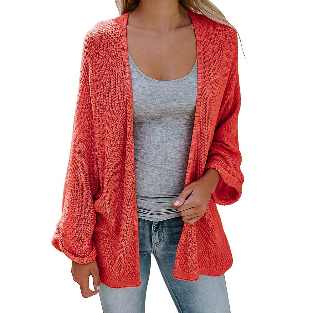 Syban Women's Loose Fit Long Sleeve Knitted Cardigan Coat Tops (Large,Xy-Orange)