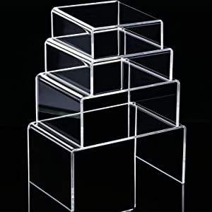 Chuangdi Clear Acrylic Display Risers, Jewelry Display Risers Showcase Fixtures, Tear Off The Protective Film Before Use(3.3, 4.1, 5, 5.7 Inch)