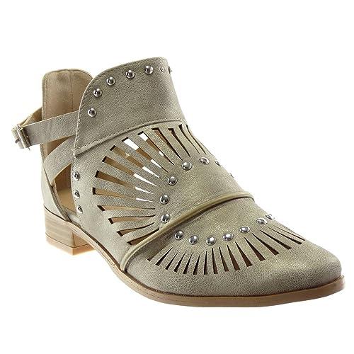 2eea3d41c40be2 Angkorly - Chaussure Mode Bottine Ouverte lanière Cheville Femme clouté  perforée Lanières croisées Talon Bloc 3