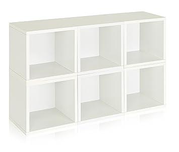 Way Basics Eco Stackable Modular Storage Cubes (Set Of 6), White (made