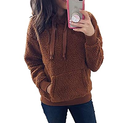 Asvivid Womens Fuzzy Fleece Crewneck Pullover Sweatshirt Solid Long Sleeve Cozy Fluffy Warm Outerwear Tops at Women's Clothing store