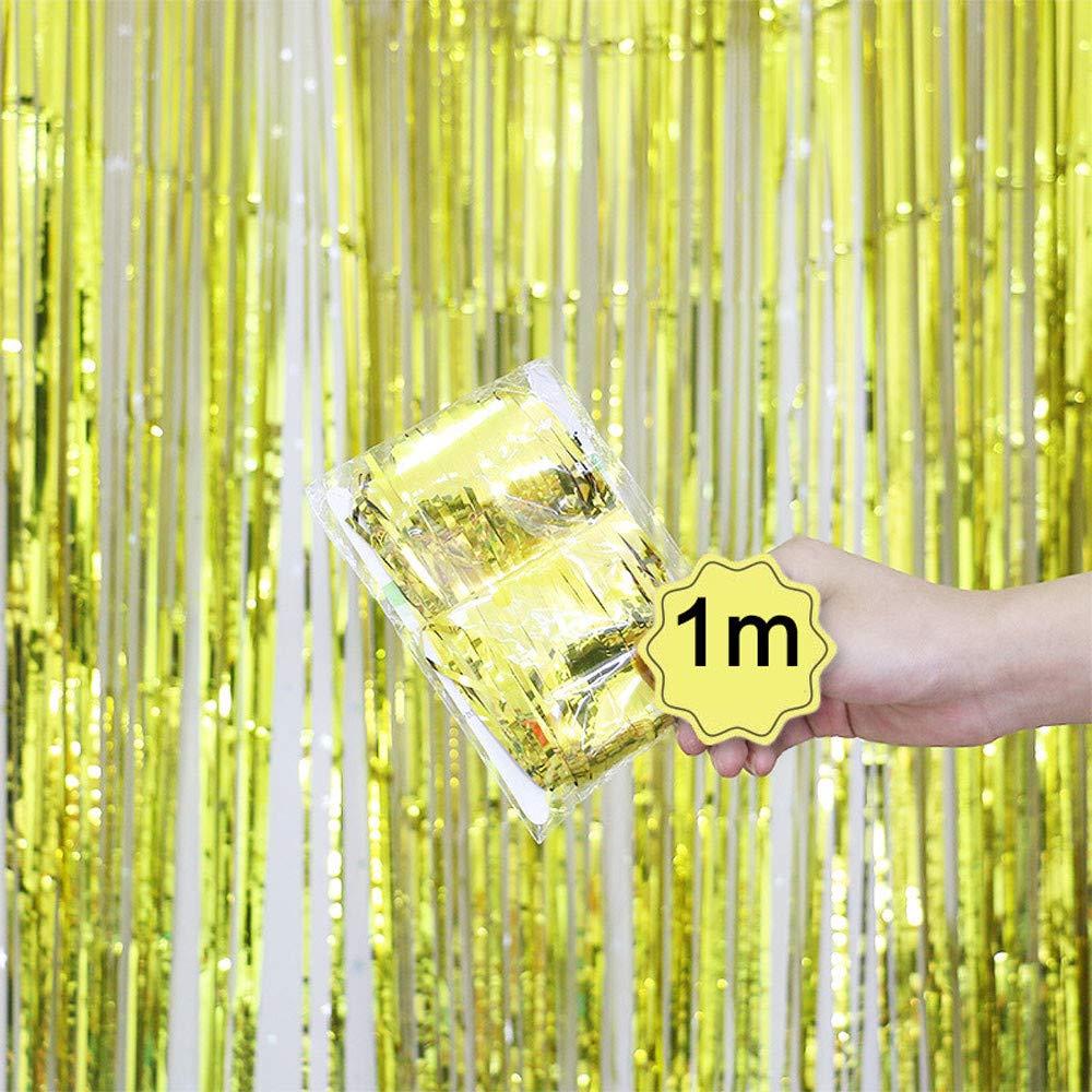 Dreamyth Foil Fringe Curtain, 1 Pack Black Tinsel Foil Fringe Photo Backdrop for Birthday Party Wedding Decor (Yellow, 1mx1m)