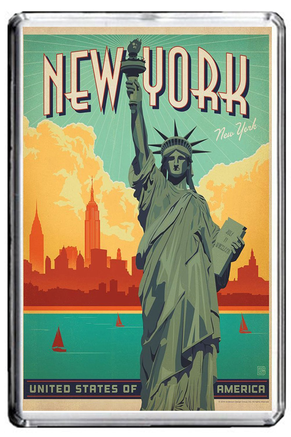 CFL B218 NEW YORK FRIDGE MAGNET UNITED STATES VINTAGE TRAVEL PHOTO MAGNETICA CALAMITA FRIGO