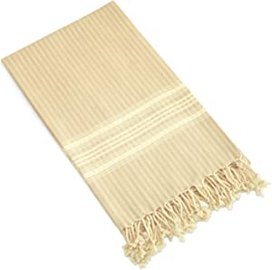 Linum Home Textiles Luxe Herringbone Pestemal, Beige