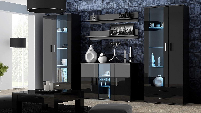 Furniture8 Kommode mit Blauer LED Beleuchtung SOHO S8 Sideboard Schrank  Wohnzimmerschrank mit 8 Türen (Schwarz/Schwarz Hochglanz)