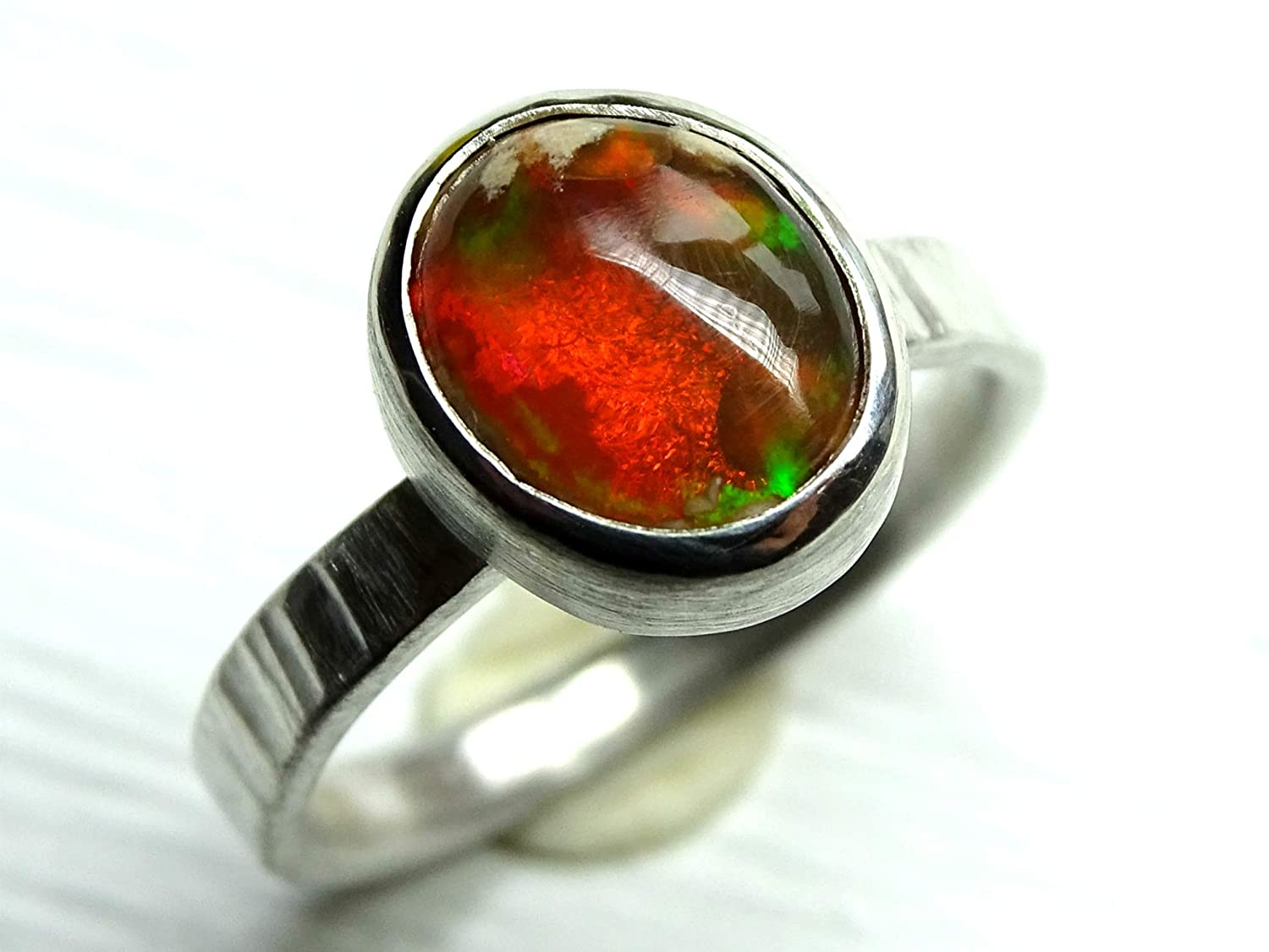 Birthstone Ring Natural Opal Round Ring Opal Ring Fire Opal Ring Sterling Silver Natural Ethiopian Fire Opal Ring Natural Opal Ring