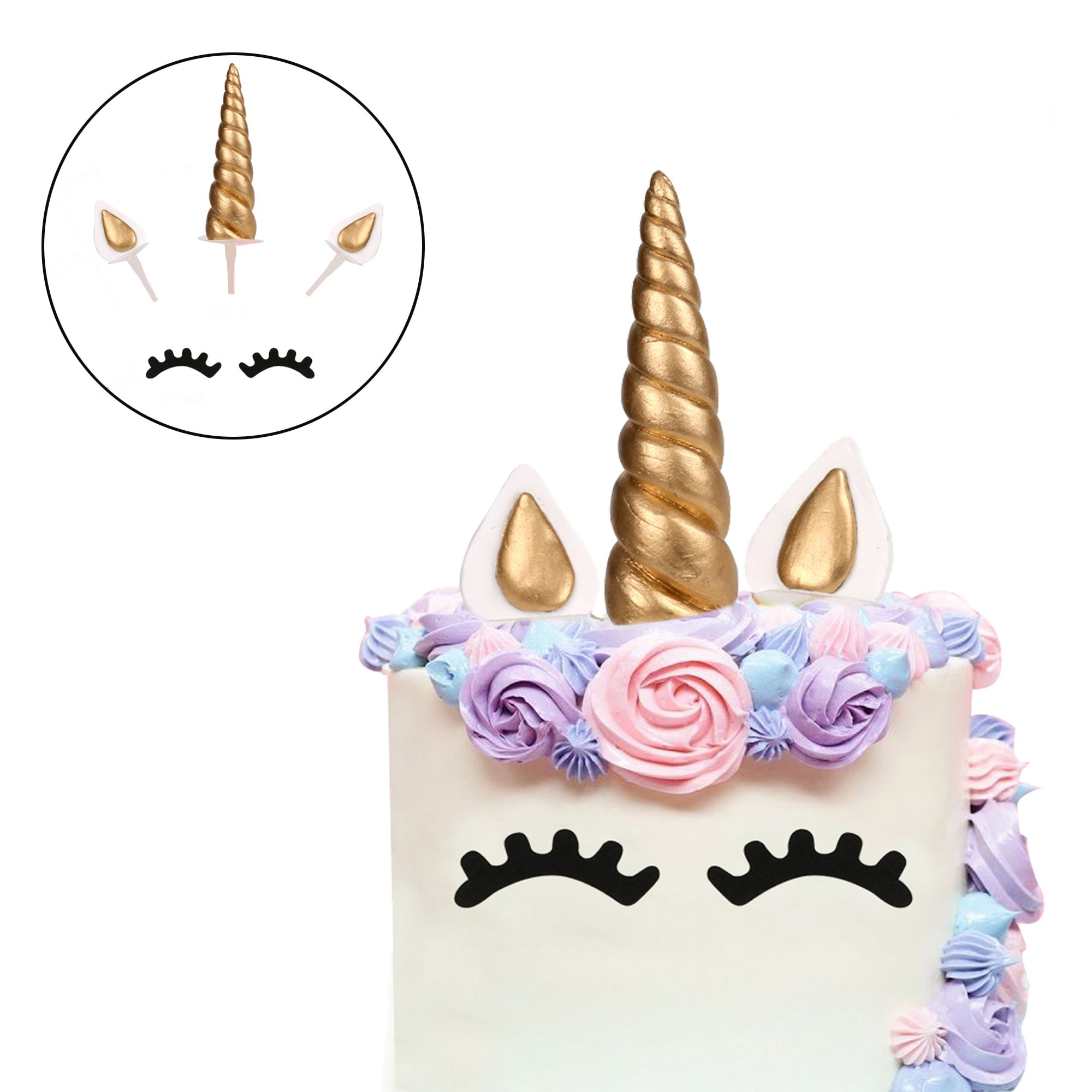 Cake Topper, LUTER Bigger Size Handmade Gold Unicorn Birthday Cake Topper, Reusable Unicorn Horn, Ears and Eyelash Set, Unicorn Party Decoration for Birthday Party, Baby Shower and Wedding (Set of 5)