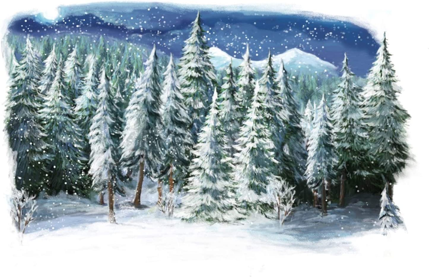 Christmas Theme Backdrop 10x7ft Vinyl Empty Sled On The Rock Mountain Lighting Old Lantern Pine Twigs Remote Forest Painting Background Xmas Eve Party Banner Child Baby Adult Shoot Wallpaper