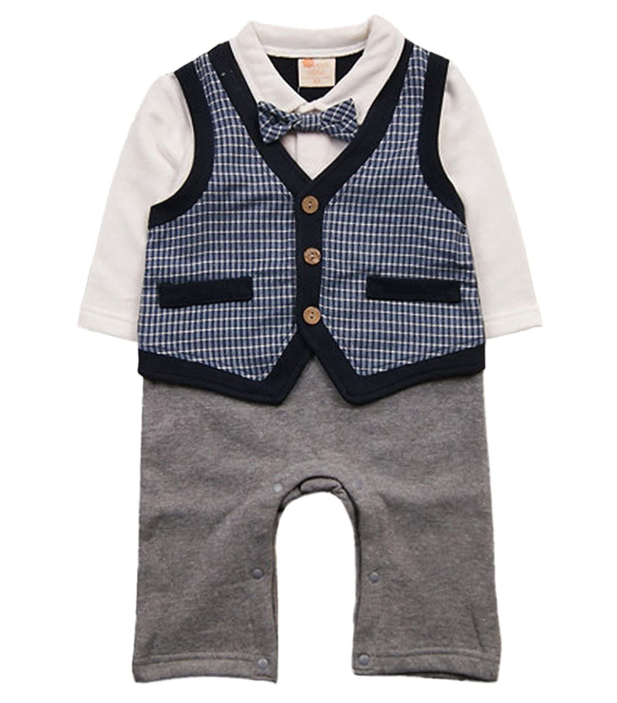 Baby Boy Plaid Formal Waistcoat Suit Infant Velvet Wedding Baptism Outfit Onesie Happy Cherry