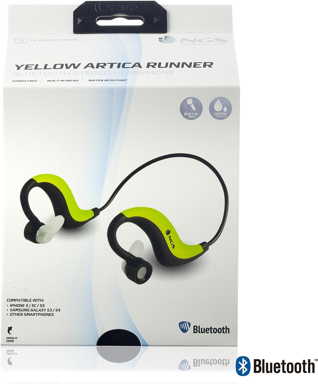NGS Artica Runner Auriculares de Contorno de Cuello, Color Amarillo