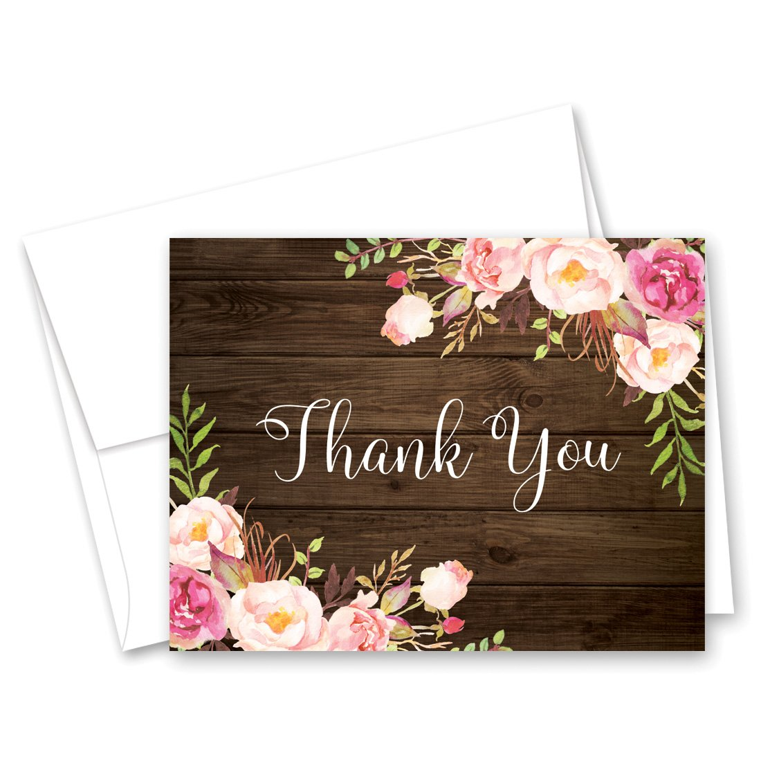 50 cnt Watercolor Roses Thank You Cards (on Wood)