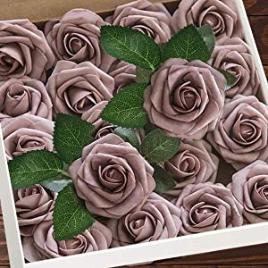Higfra Artificial Flowers Dusty Roses W/Stem, Rustic Farmhouse Decor for Home Wedding Kitchen and Office Ideal Bridal Shower Party Home Decorations 25pcs