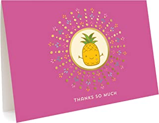 product image for Night Owl Paper Goods Pineapple Thank You Cards, Gold Foil