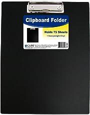 C-Line Clipboard Folder, Letter Size, Holds up to 75 Sheets, Black
