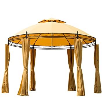 Charming Outsunny Round Outdoor Patio Canopy Party Gazebo With Curtains, 11 Feet,  Orange