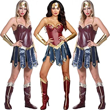 Amazon Com Zooro Wonder Woman Cosplay Costumes Justice League Super Hero Diana Cosplay Clothing