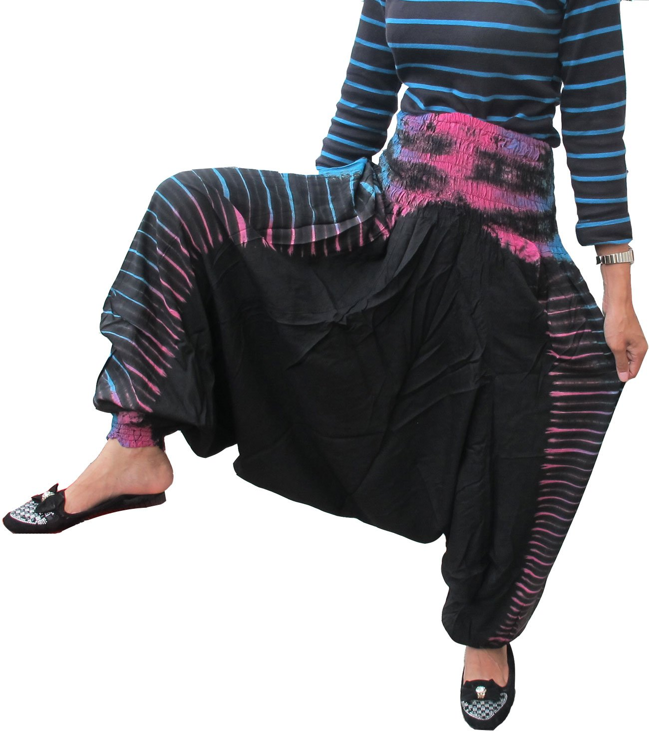 BEAUTIFUL HILL TRIBE STYLE GENIUNE RAYON TIE DYE Genuine Rayon Cotton Hippy Hippie Boho Genie Ali Baba Thailand