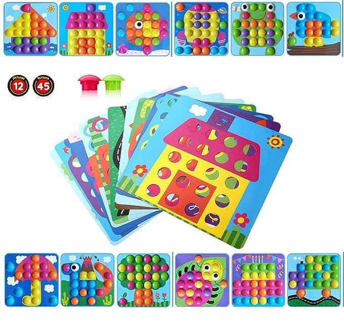 Rompecabezas 3D Arte de Botones Aprendizaje Temprano Imagen Educativa Tablero de Mosaico Infantiles Clavos de Hongos Juguete para Niños y Niñas ...